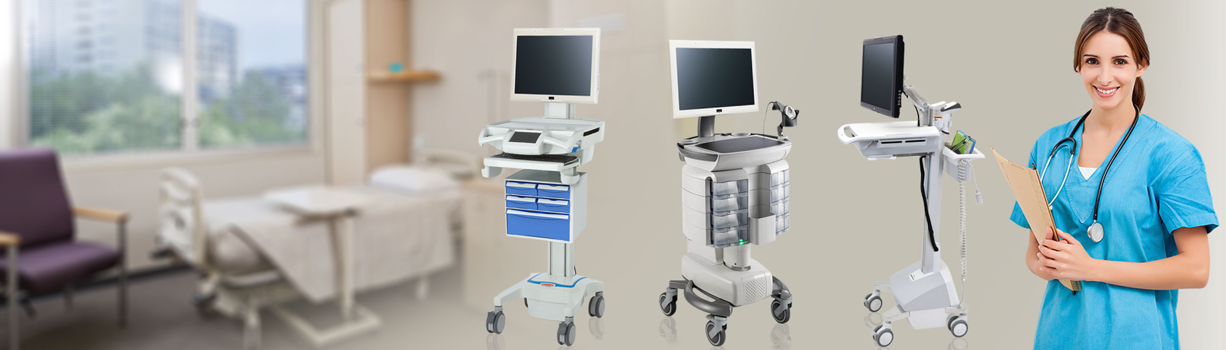 ADITI Medical Cart Computers / Computers on Wheels for eMar and Mobile Cart Solutions
